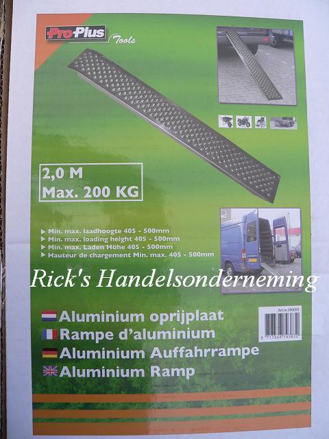 Oprijplaat 200x21 aluminium 200kg